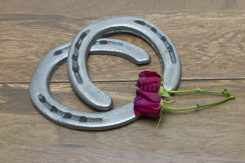 Rosas vermelhas de Kentucky Derby com ferraduras foto de stock royalty free