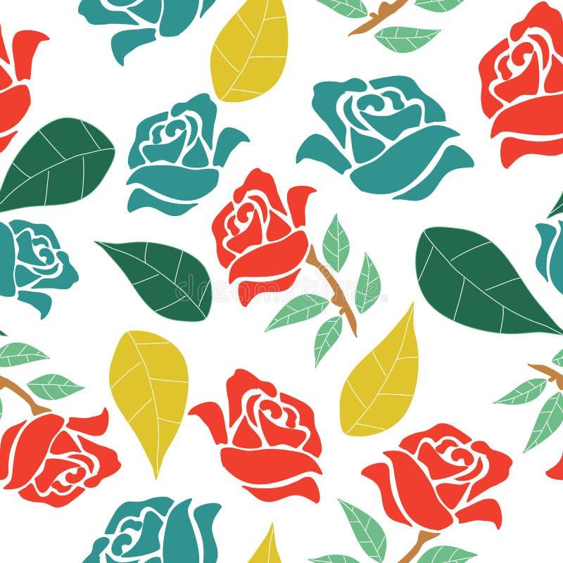 Rosas vermelhas e azuis com folhas coloridas, em um projeto sem emenda do teste padrão ilustração do vetor