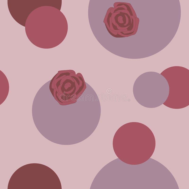 Rosas vermelhas e rosa, círculos vermelhos em um fundo claro p sem emenda ilustração stock