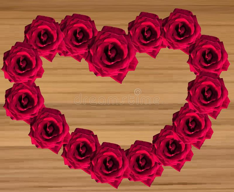 Rosas vermelhas na forma do coração no fundo de madeira ilustração do vetor