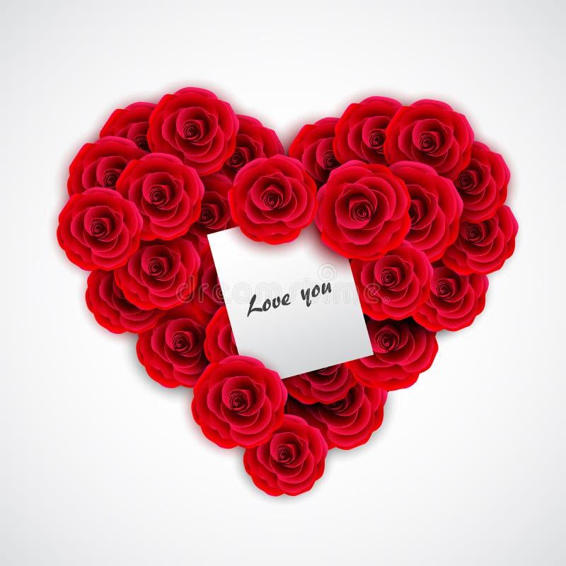 Rosas vermelhas no formulário do coração Elemento da decoração de Rosa para o convite, o cartão, o cartão ou o dia de são valenti ilustração stock