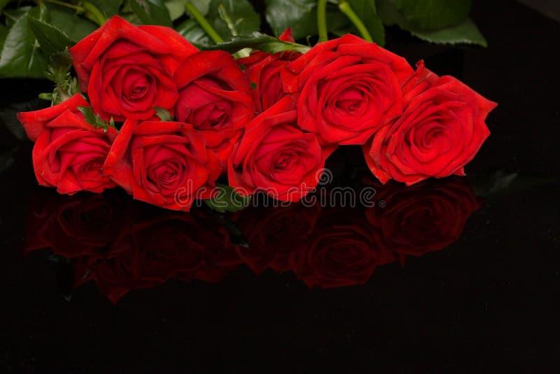 Rosas vermelhas no preto fotos de stock