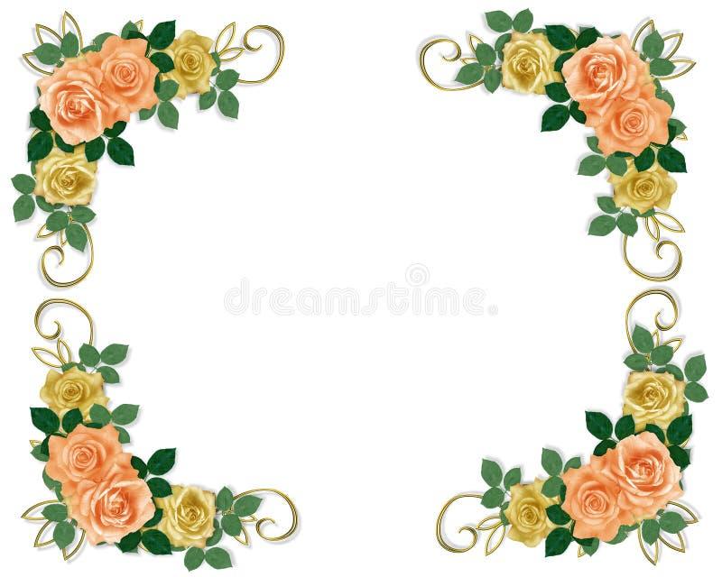 Rosas Wedding el melocotón y el amarillo de la invitación ilustración del vector