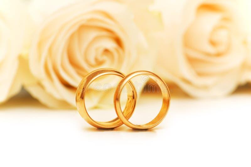 Rosas y anillos de bodas imagen de archivo