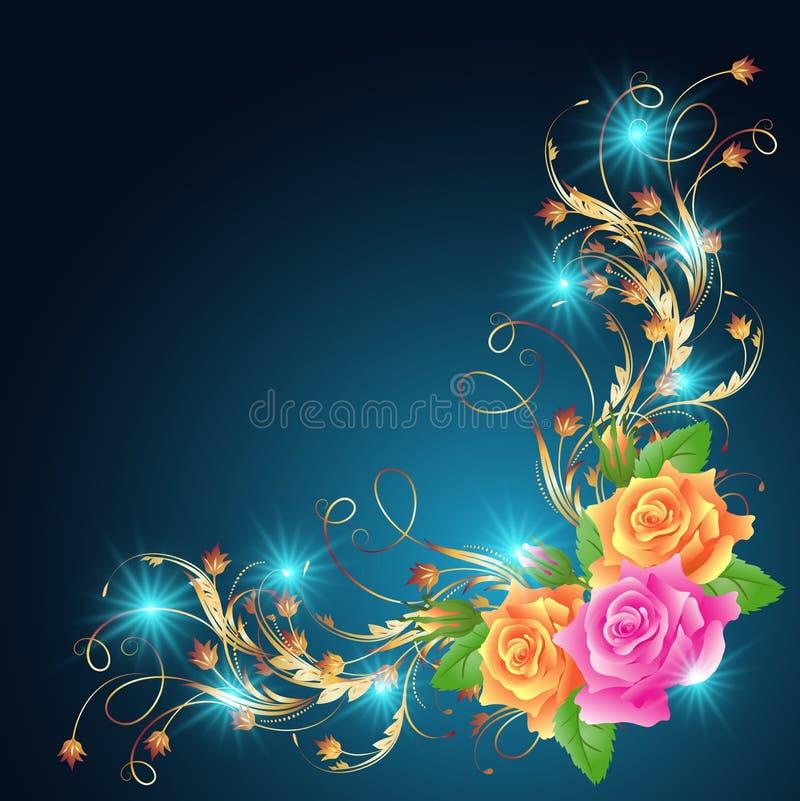 Rosas y estrellas que brillan intensamente stock de ilustración
