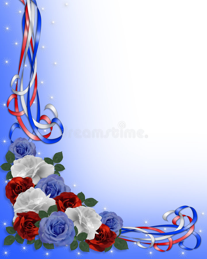 Rosas y frontera patrióticas de las cintas ilustración del vector