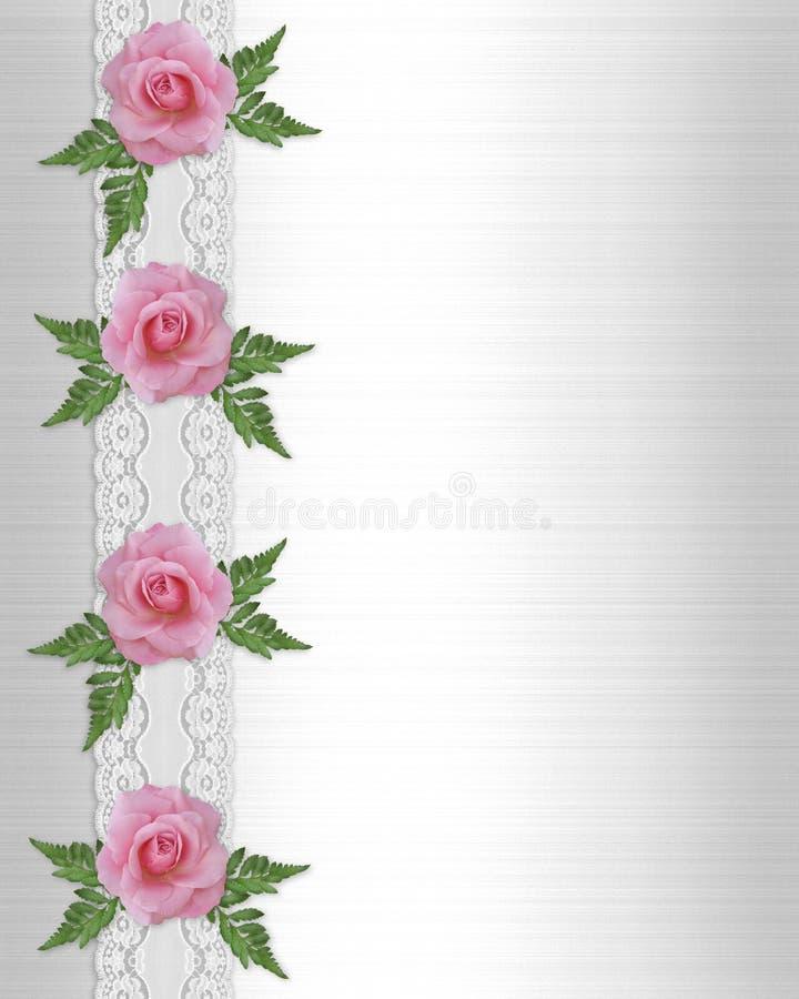 Rosas y frontera rosadas del cordón ilustración del vector