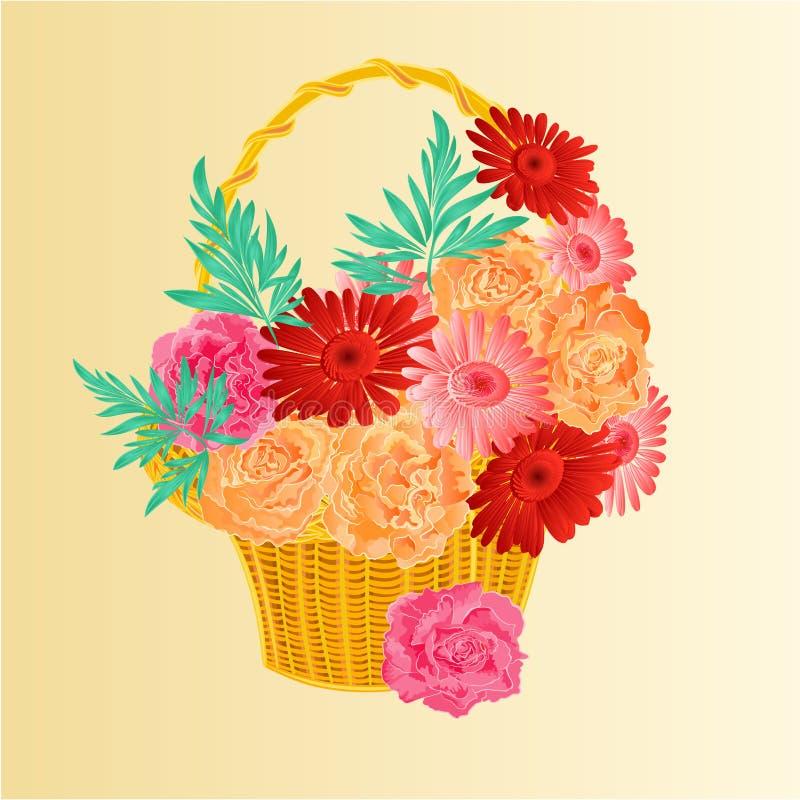 Rosas y gerber como en un vector de la cesta libre illustration