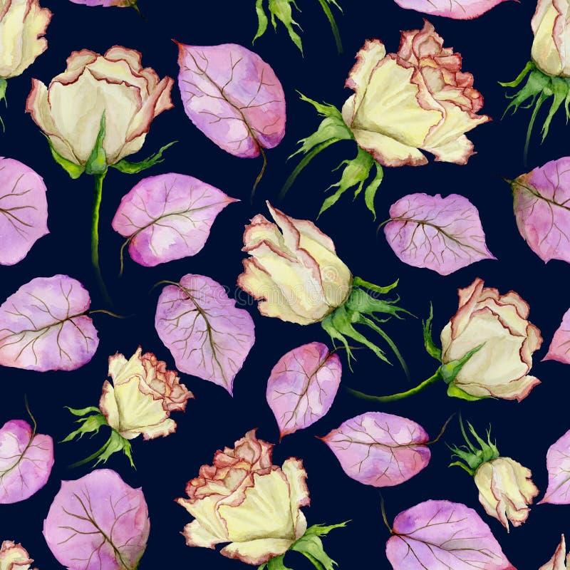 Rosas y hojas amarillas y rojas hermosas de la púrpura en fondo azul marino Modelo floral inconsútil Pintura de la acuarela libre illustration