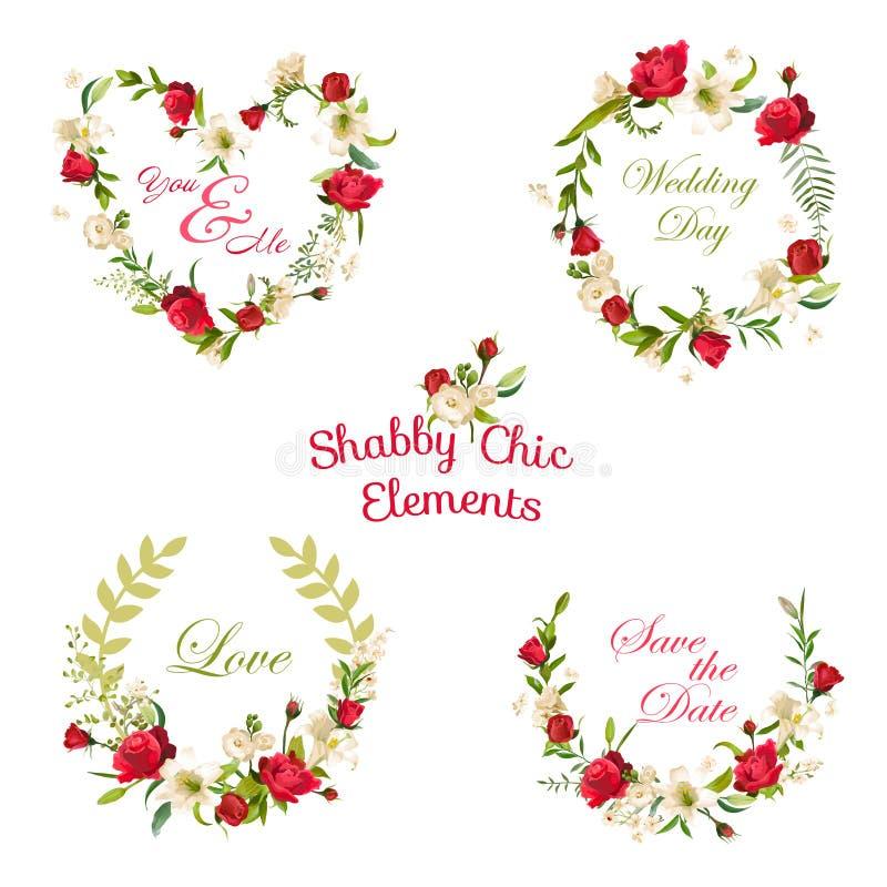 Rosas y Lily Tags floral del vintage, etiquetas y banderas libre illustration