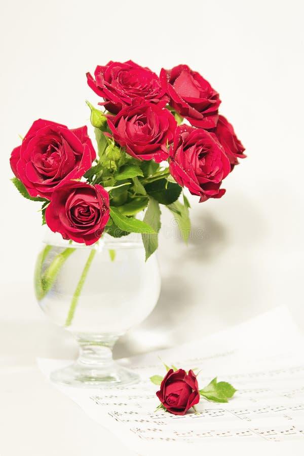 Rosas y notas fotos de archivo libres de regalías