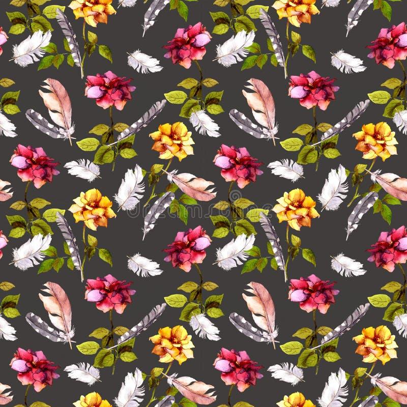 Rosas y plumas Modelo inconsútil watercolor libre illustration