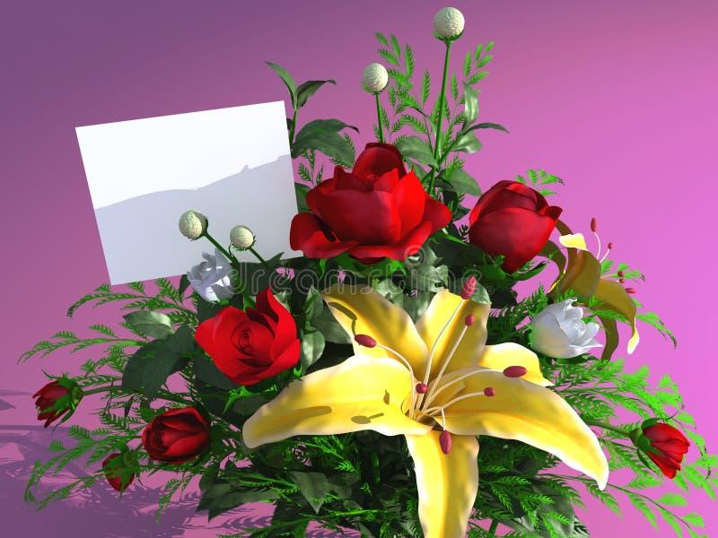 Rosas y tarjeta vacía stock de ilustración