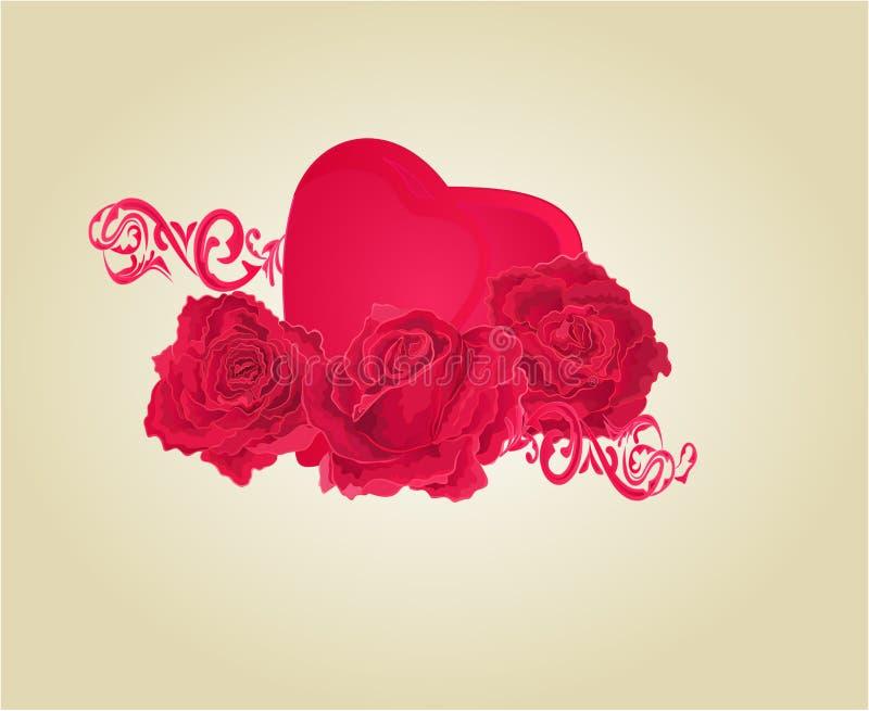 Rosas y vector del corazón y de los ornamentos ilustración del vector