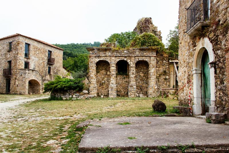 Roscigno Vecchio - Ghost town in Cilento. Roscigno Vecchio - old abandoned village in Cilento, Campania, italy royalty free stock photo