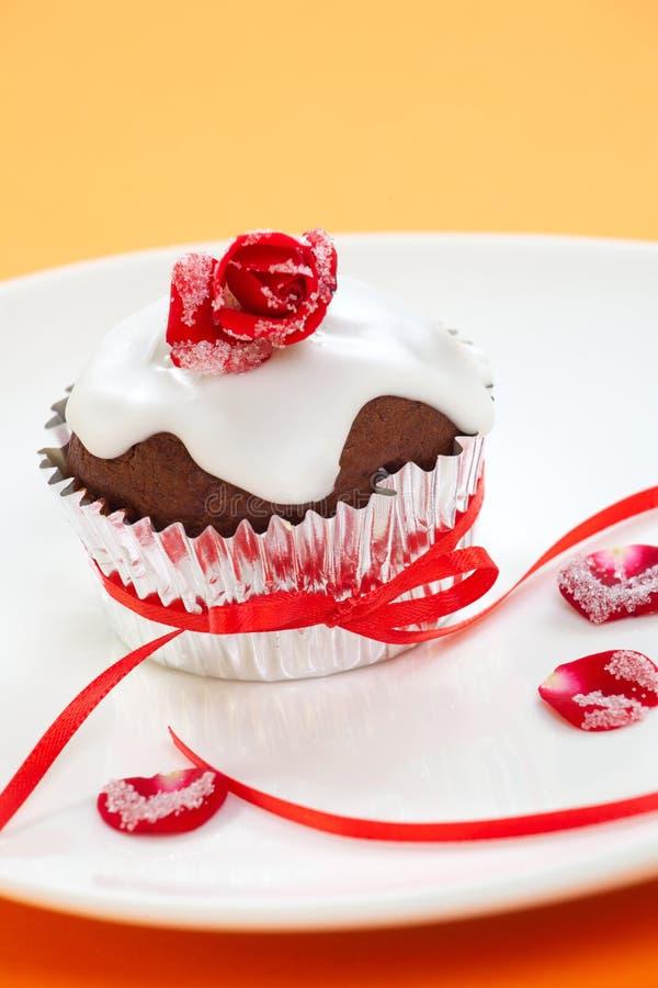 Rose überstieg Muffin lizenzfreie stockfotografie
