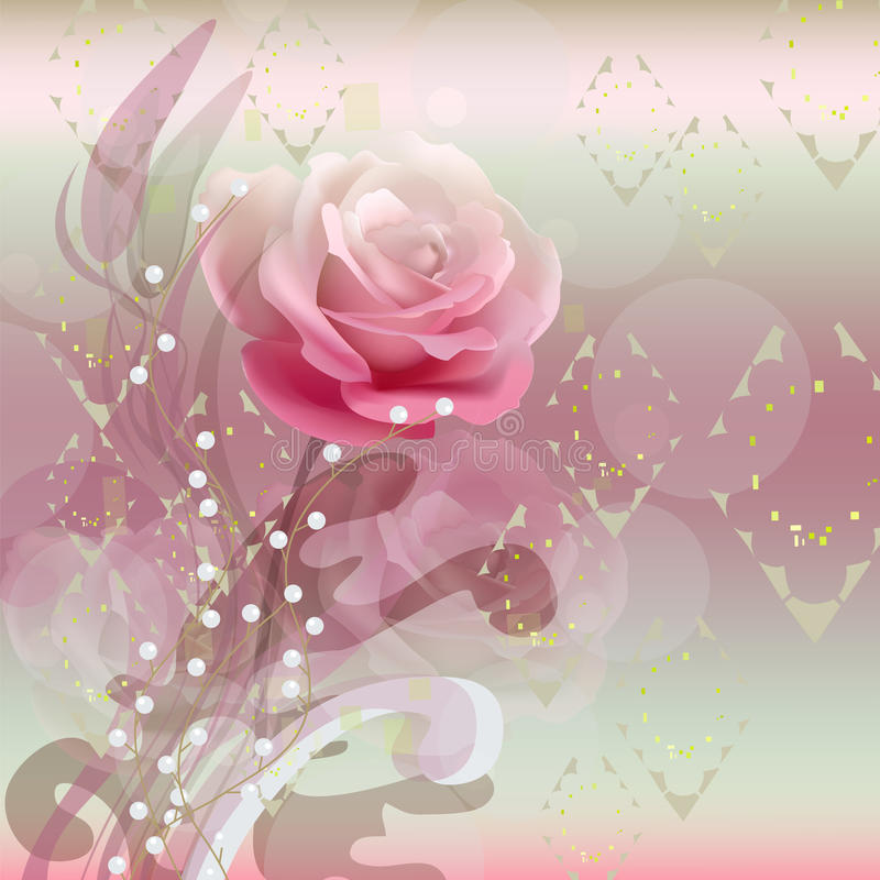 Rose at an abstract background stock illustration