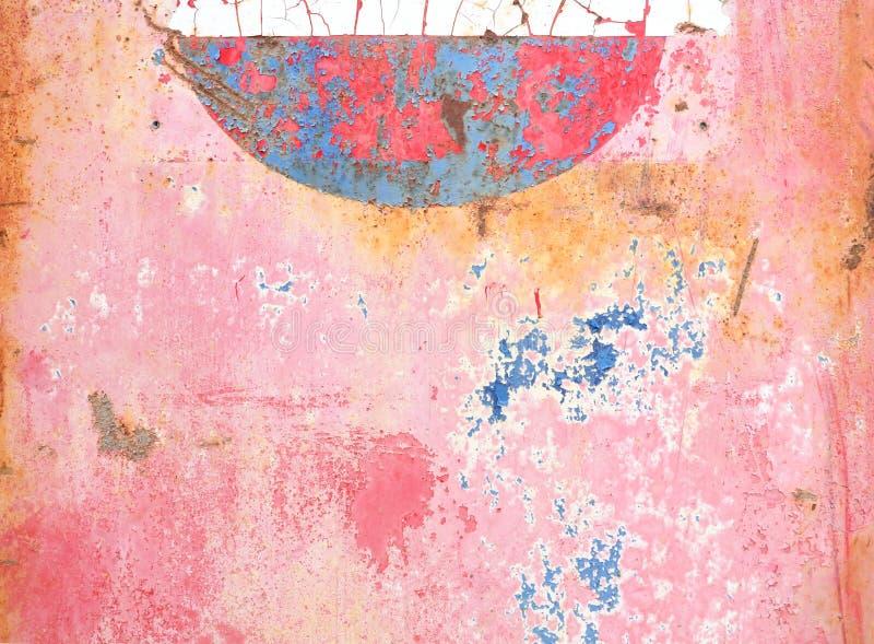 Rose abstrait, bleu, peinture sur le métal avec la rouille image stock