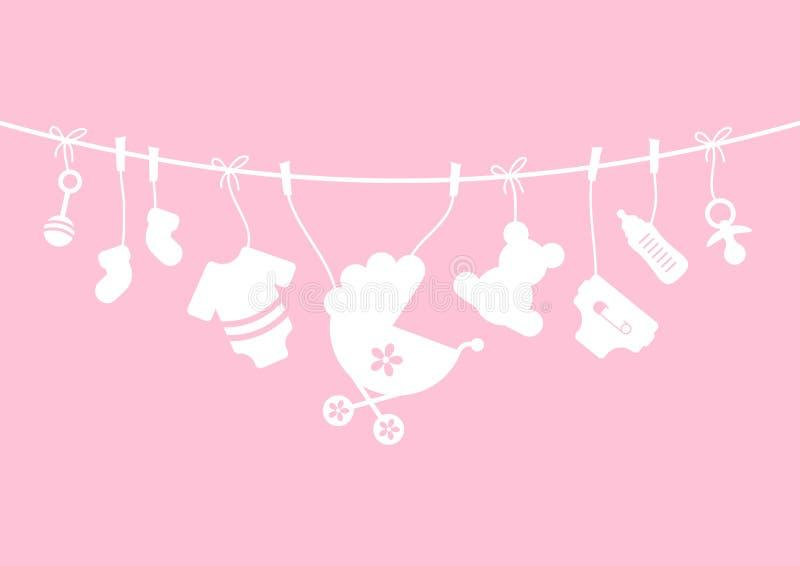 Rose accrochant d'arc de fille de neuf icônes de bébé et blanc horizontaux illustration de vecteur