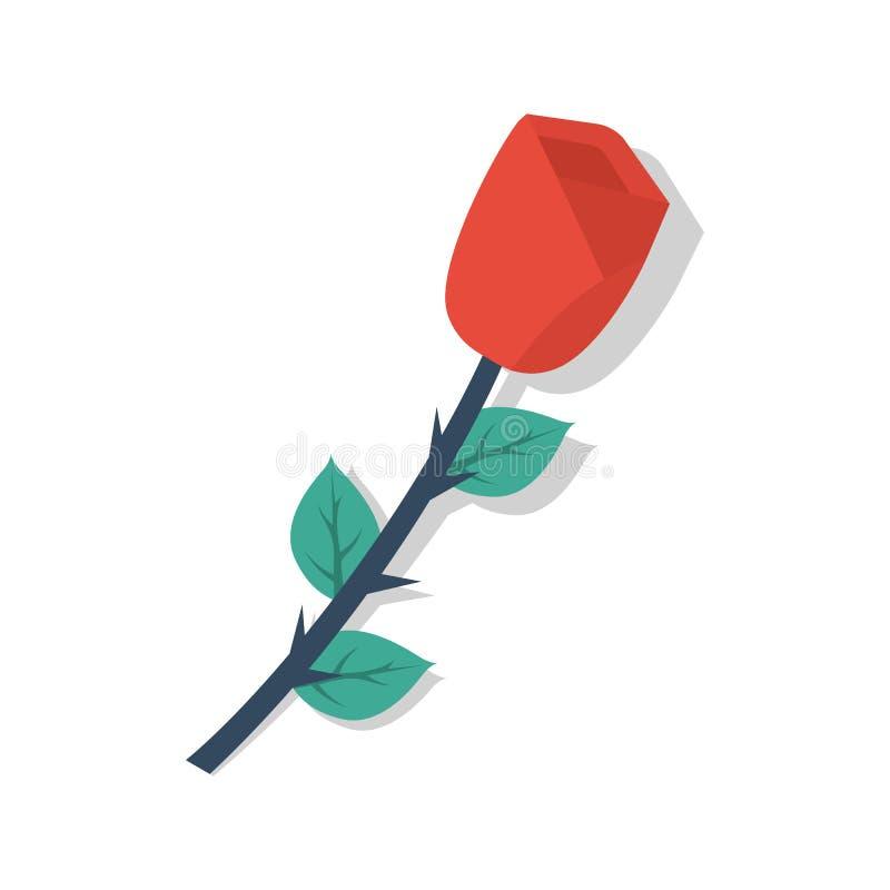 Rose aisló en un fondo blanco ilustración del vector