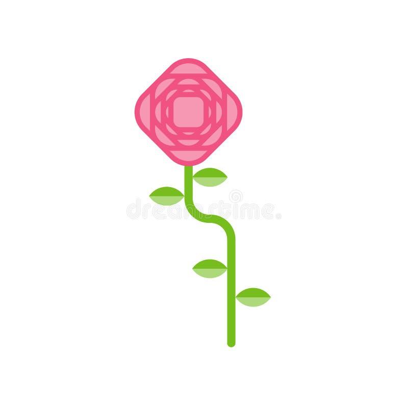 Rose aisló Flor rosada en el fondo blanco Illustrat del vector ilustración del vector