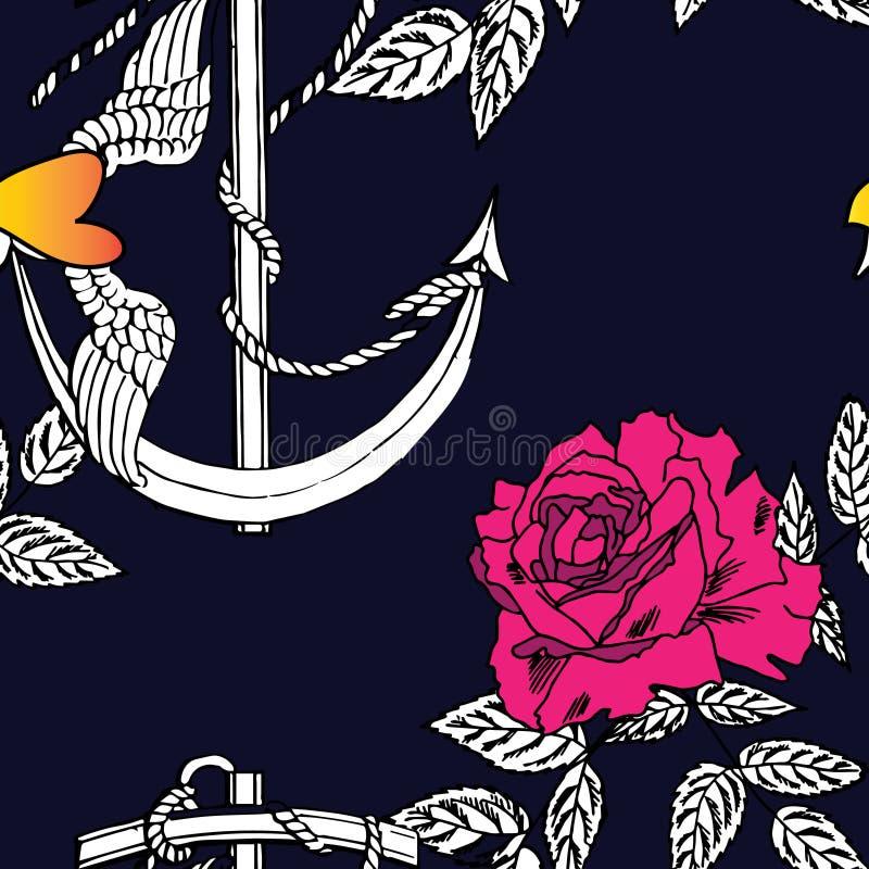 Rose, ancre de l'amour photographie stock
