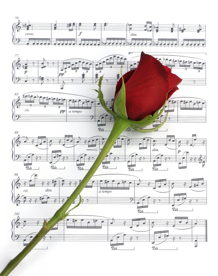 Free Rose And Music Royalty Free Stock Photos - 254878