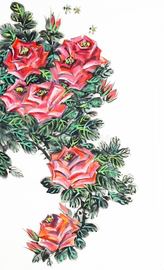 Rose arbusto roja stock de ilustración