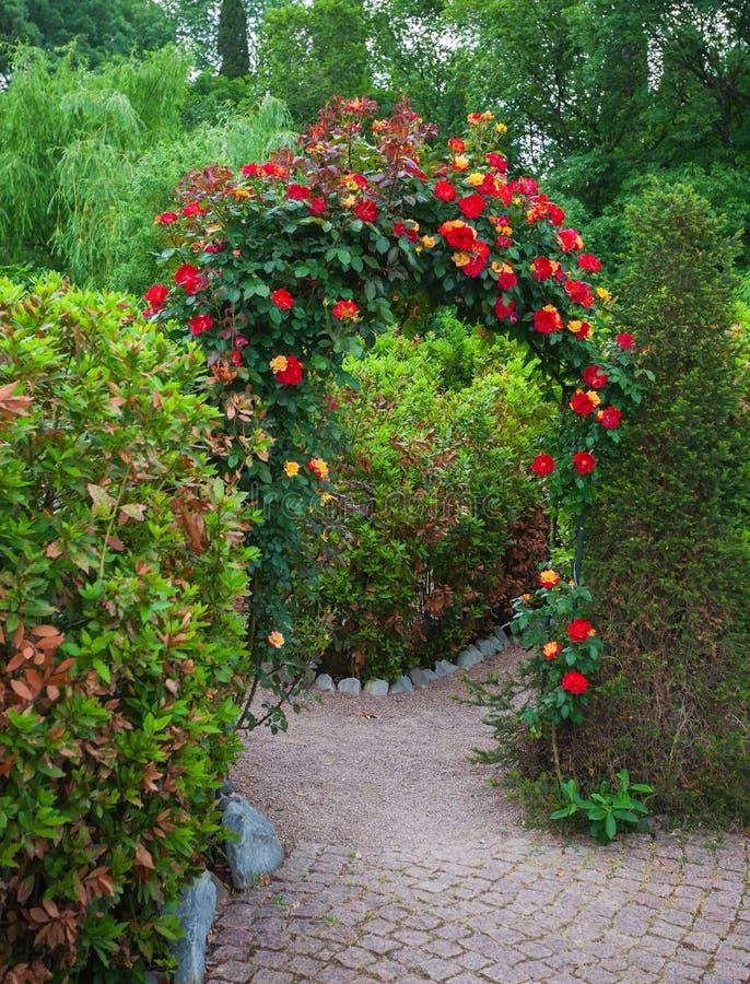Rose Arch in English Country Garden. In the Nikitsky botanical garden. Crimea. Ukraine royalty free stock photos