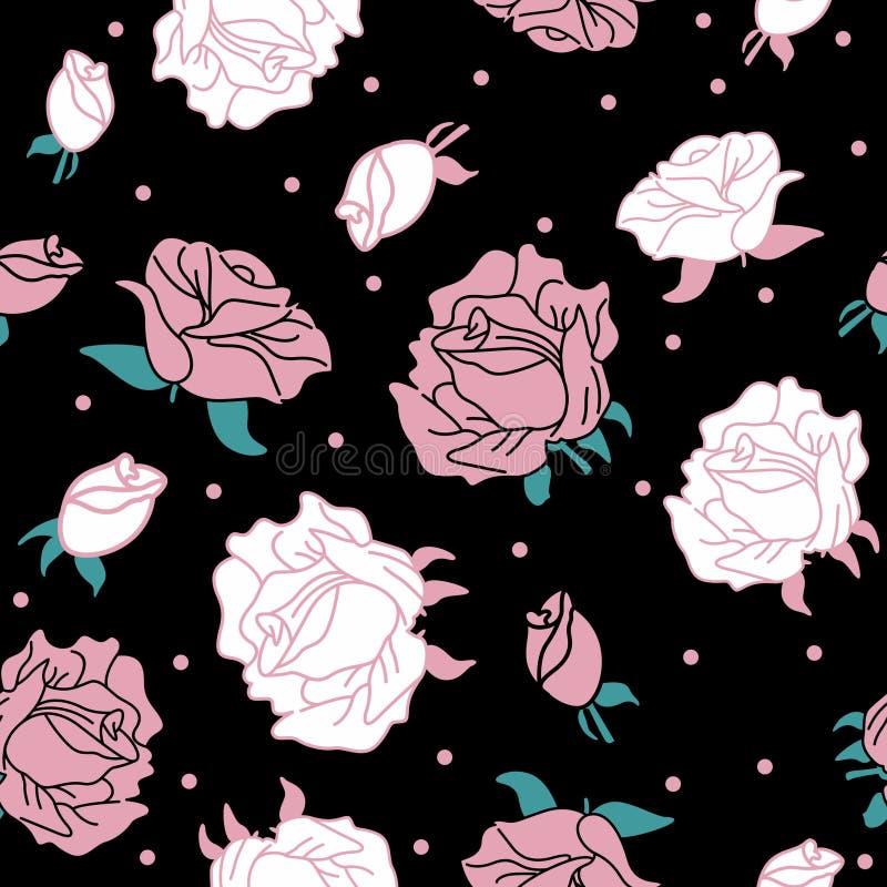 Rose auf dem schwarzen Hintergrundmuster nahtlos vektor abbildung