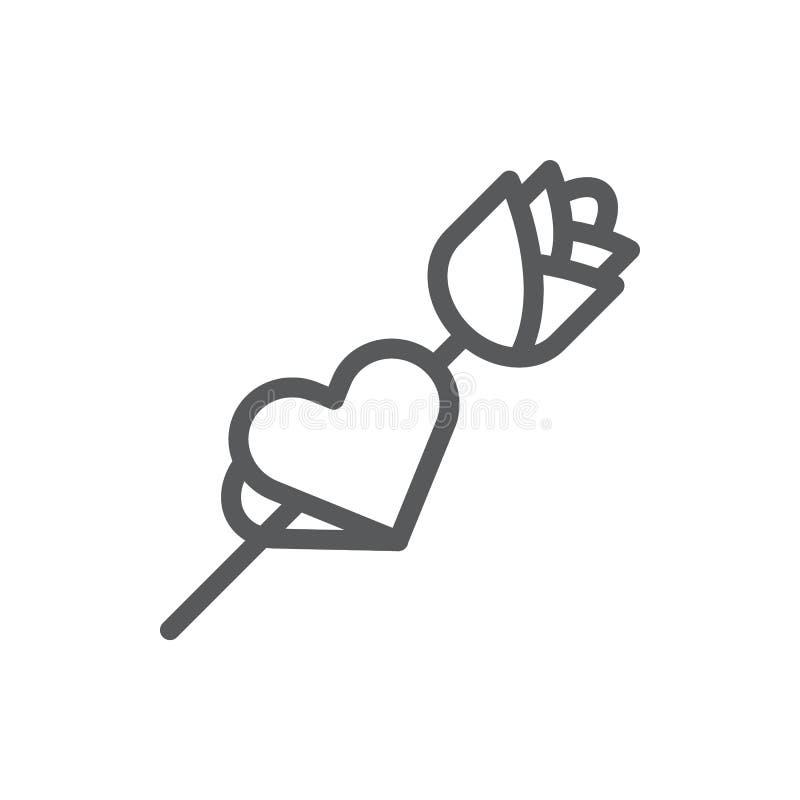 Rose avec la carte sous la forme de ligne de coeur icône avec la course editable illustration de vecteur