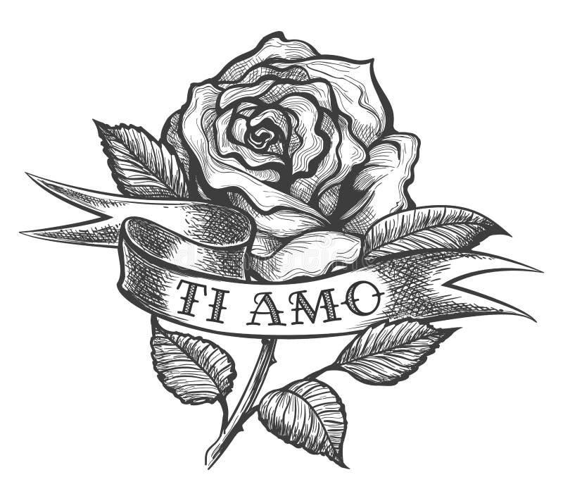 Rose avec le tatouage de ruban illustration stock