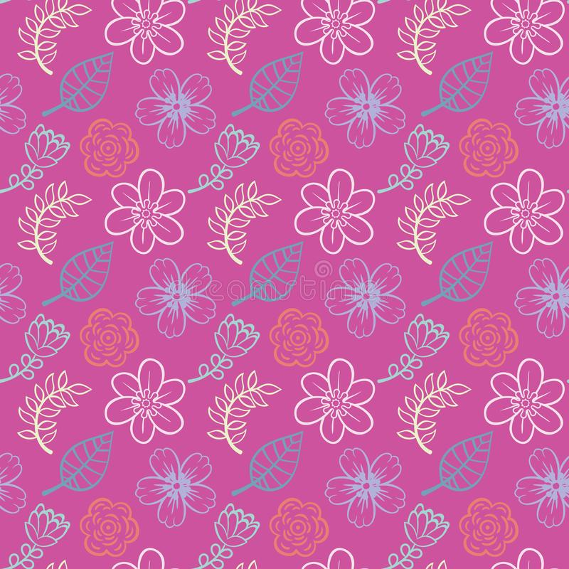 Rose background with decorative floral leaves seamless pattern vector fabric vector illustration