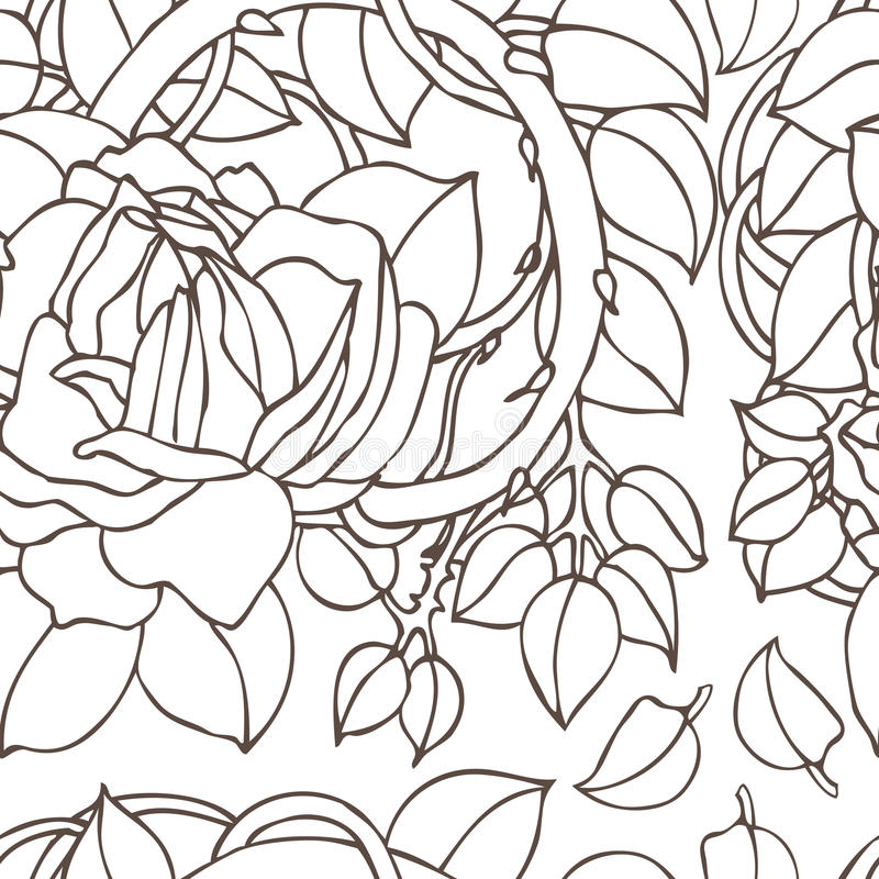 Rose background. Seamless background with english roses stock illustration