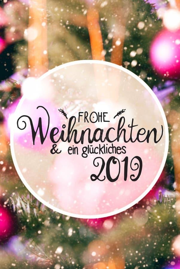 Rose Balls trouble, Glueckliches 2019 moyens 2019 heureux, flocons de neige images libres de droits
