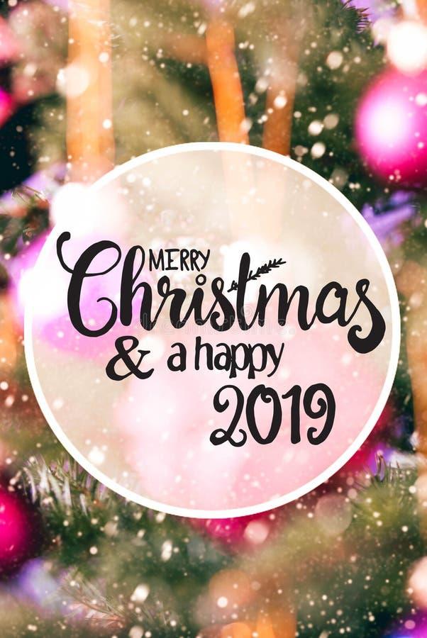 Rose Balls trouble, Joyeux Noël et un 2019 heureux, flocons de neige photo stock