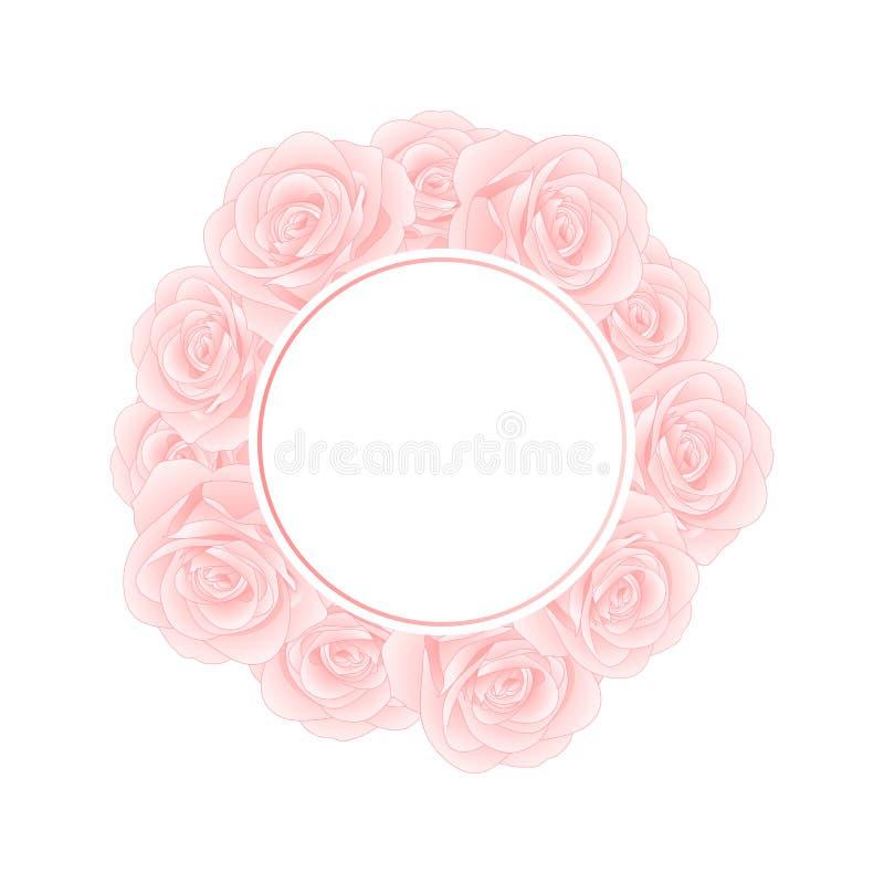 Rose Banner Wreath rosada hermosa - Rosa aislados en el fondo blanco Día de tarjeta del día de San Valentín Ilustración del vecto stock de ilustración