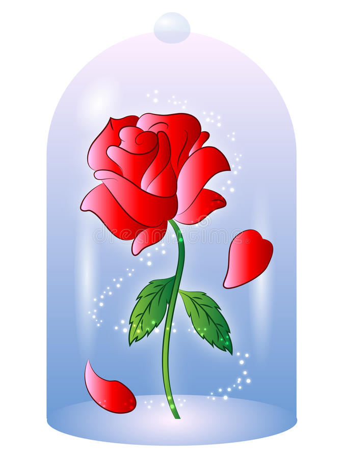 Rose From Beauty And The Beast Vector Illustration Stock