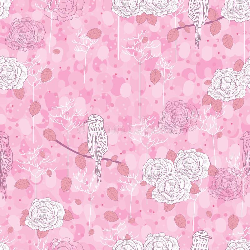Rose bird abstract seamless pattern vector illustration