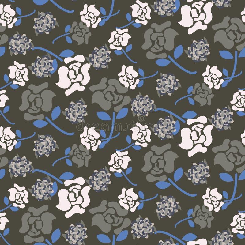 Rose blüht nahtlosen Vektor des grauen und blauen dunklen mit Blumenmusters stock abbildung