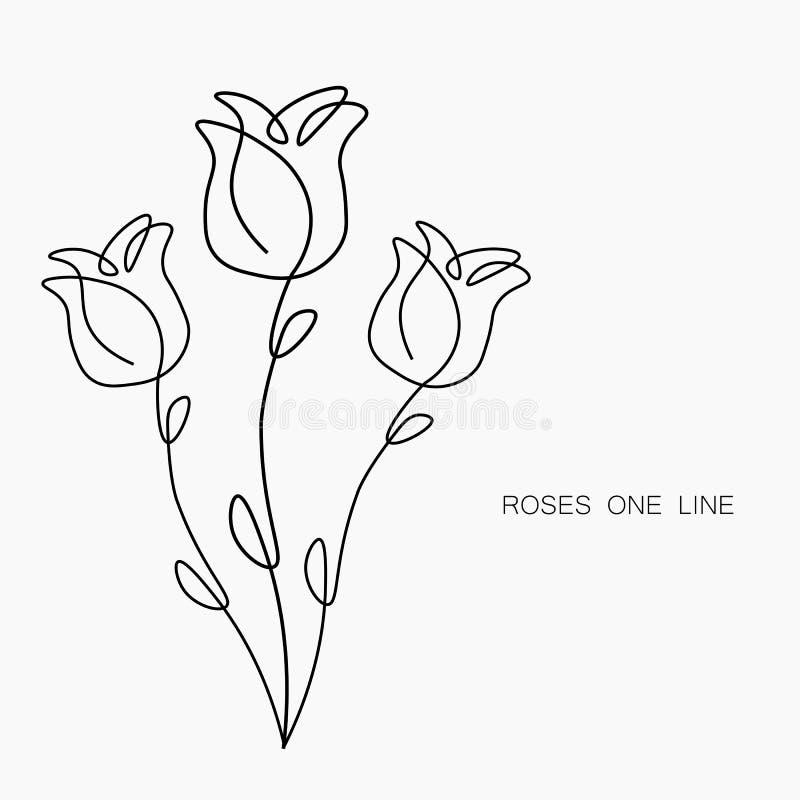 Rose bl?hen eine Linie abgehobenen Betrag, Vektorillustration lizenzfreie abbildung