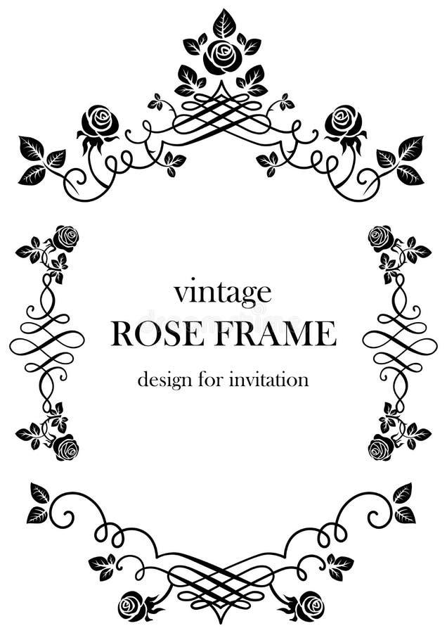 Download Rose Black Vintage Frame Stock Vector Illustration Of Invitation