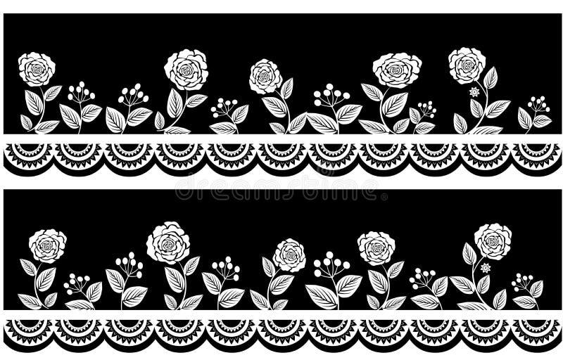 Rose blanca negra florece las fronteras ilustración del vector