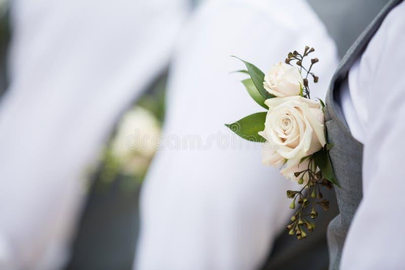 Rose blanche Boutonnière images libres de droits