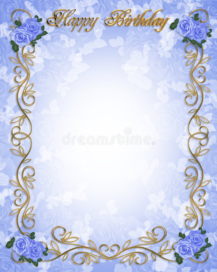 Rose blu 3D dell'invito di compleanno illustrazione di stock