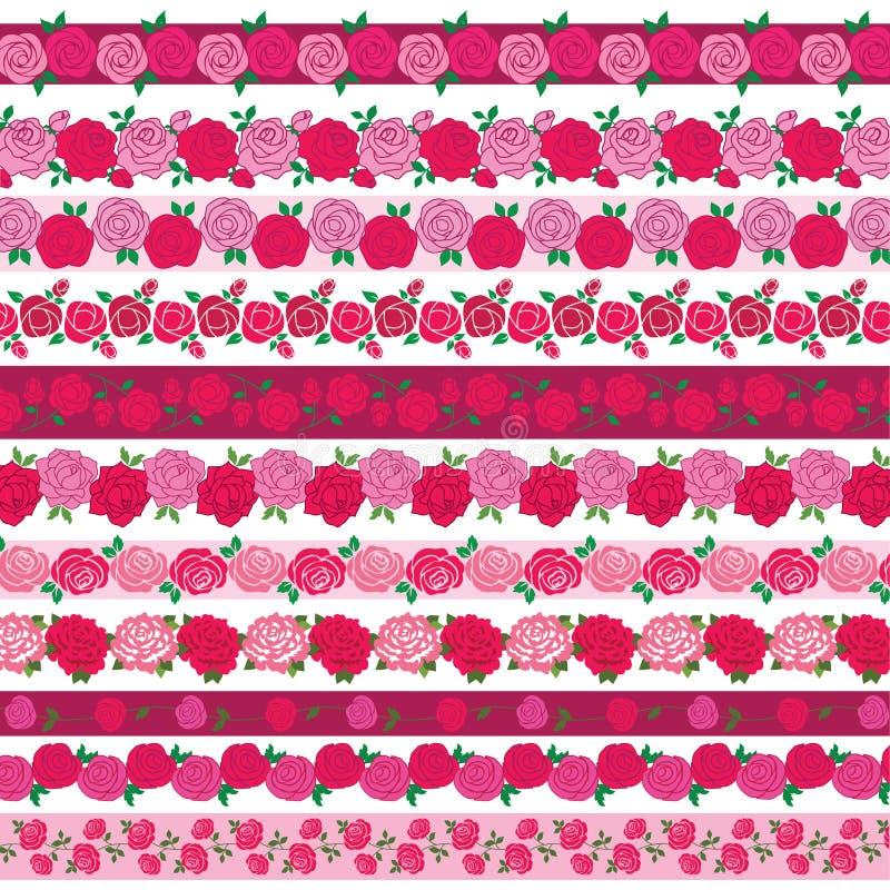 Rose border patterns stock illustration