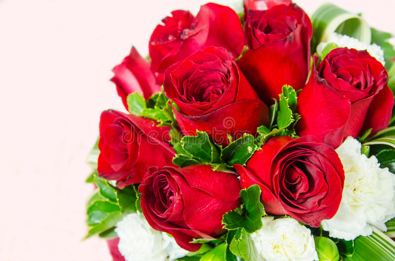 Rose bouquet. With red background royalty free stock photo