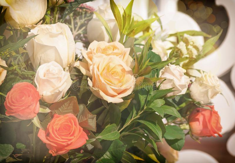 Rose bouquet background closeup. Used filter stock photo