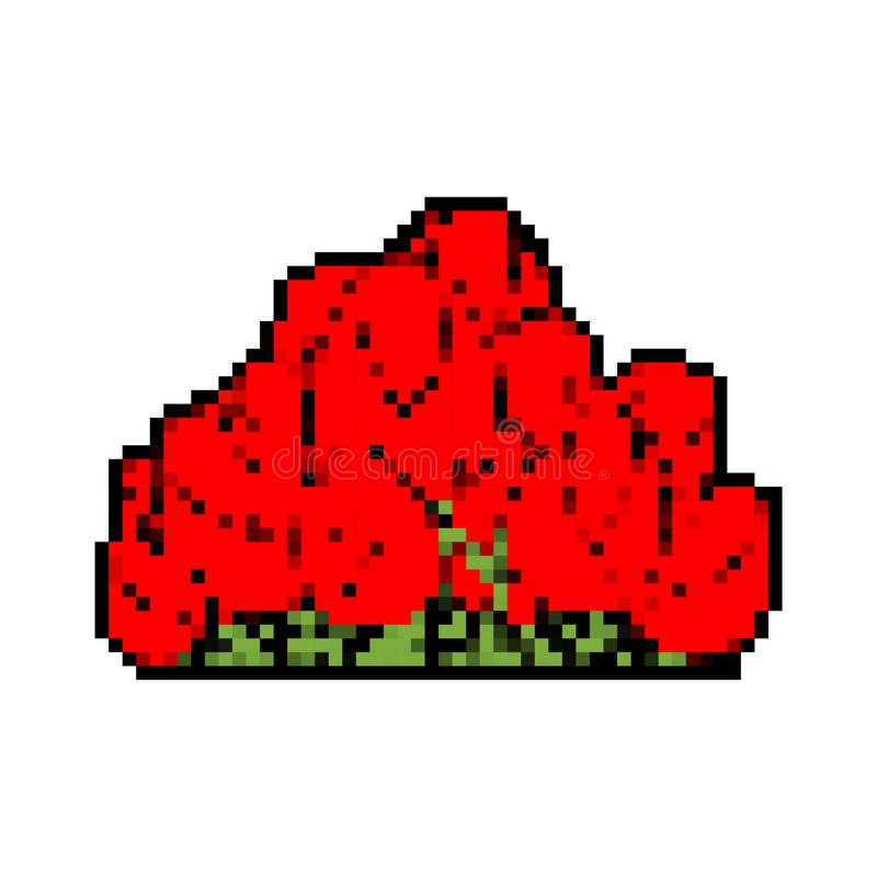Rose bush pixel art isolated. Flowers 8 bit royalty free illustration