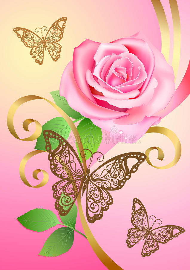 Rose, butterflies and ribbons vector illustration